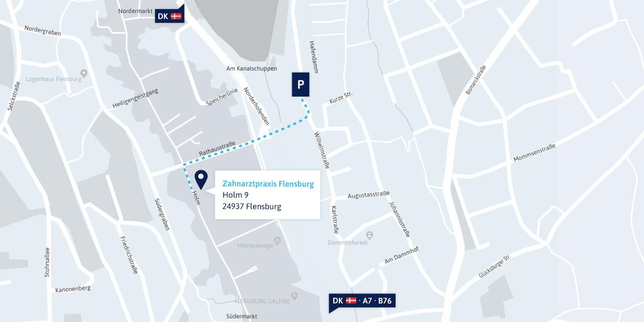 Anfahrtskarte Zahnarztpraxis Flensburg